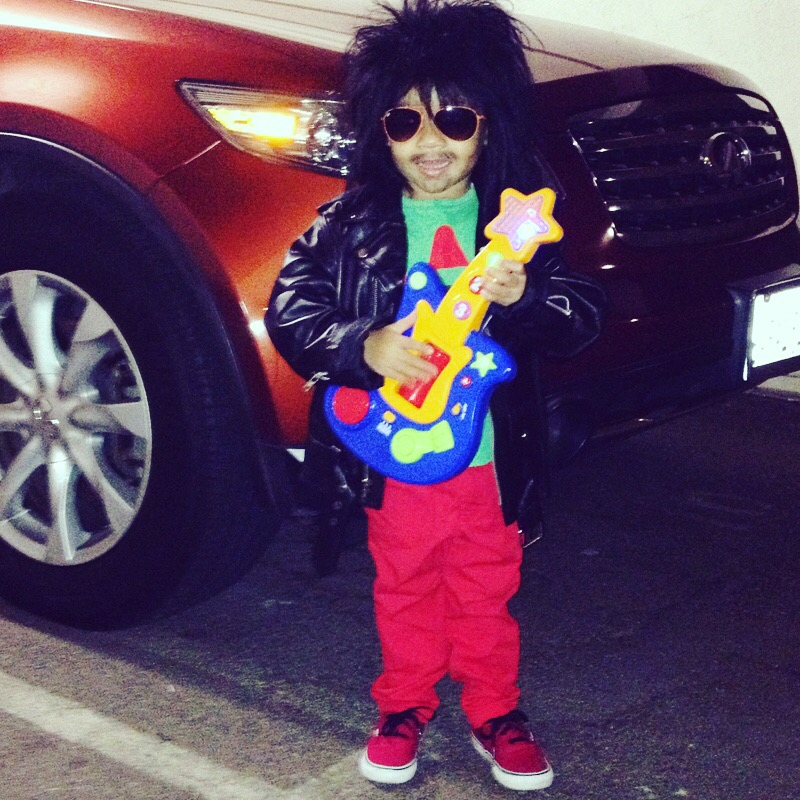 """Hippo's Halloween Costume 2012. He wanted to be a, """"wokstar"""" like Prince & Slash."""